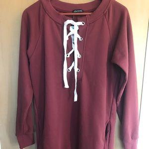 Tops - Maroon sweatshirt dress